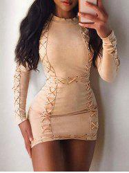 Lace Up Tight Dress  with Sleeves -