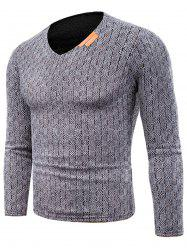Knitted V Neck Long Sleeve Applique T-shirt -