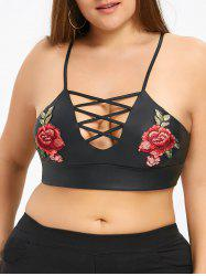 Plus Size Embroidery Criss Cross Camisole -