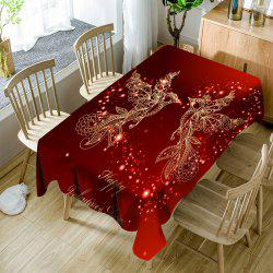 Happy Valentine's Day Heart Two Birds Printed Waterproof Table Cloth -