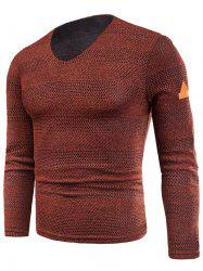 V Neck Long Sleeve Fleece Knitted T-shirt -