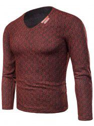 V Neck Applique Knitted Fleece T-shirt -