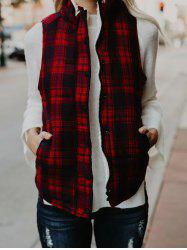 Zip and Button Plaid Quilted Vest -