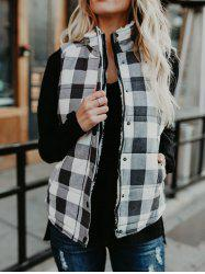 Zip и Button Plaid Quilted Vest -