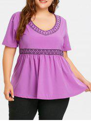 Plus Size Print Empire Waist Peplum Top -