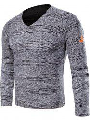 V Neck Long Sleeve Knitted T-shirt -