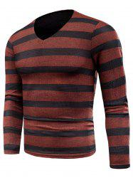 Knitted V Neck Long Sleeve Stripe T-shirt -