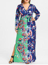 Surplice Plongeant Floral Print Plus Size Dress -