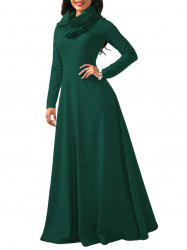 Maxi Long Sleeve Cowl Neck Dress -