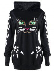 Plus Size Cat Pattern Hoodie with Ears - Black - 5xl