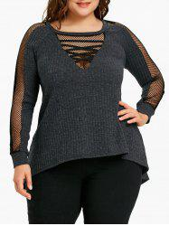 Plus Size Fishnet Trim Ribbed Top -