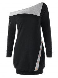 Pullover Skew Neck Buttons Two Tone Sweatshirt -