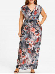 Plus Size Floral Beach Maxi V Neck Dress -