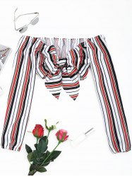 Self Tie Bowknot Striped Cropped Blouse -