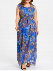 Plus Size Peacock Feather Print Chiffon Maxi Dress -