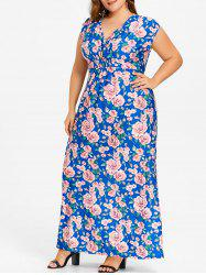 Plus Size Flower Print Long V Neck Dress -