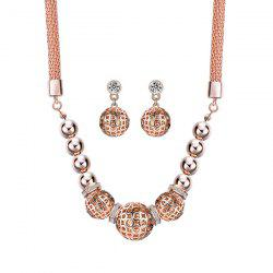 Fake Diamond Hollow Out Beads Pendant Necklace with Earrings -