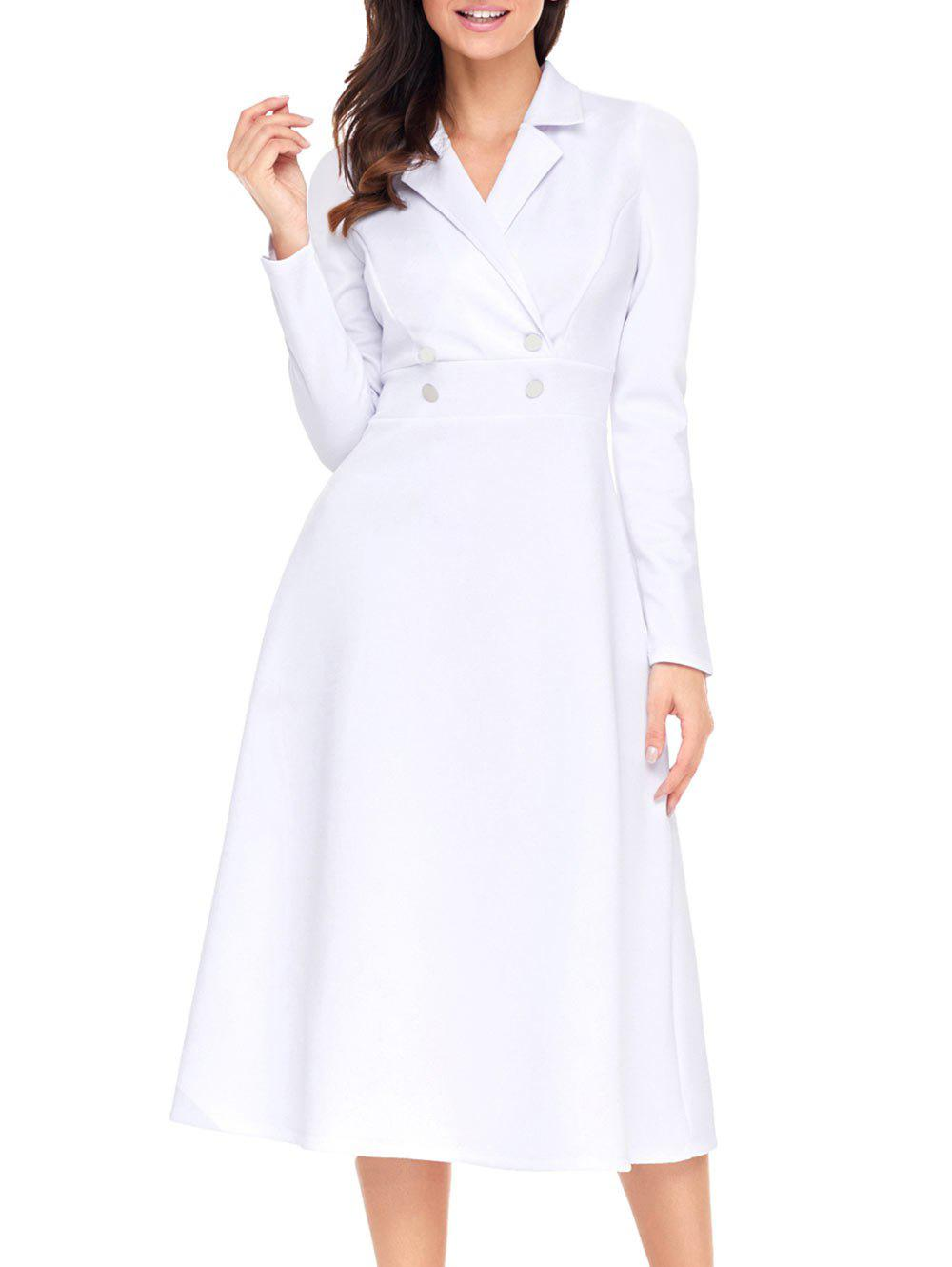 Buy Button A-line Lapel Collar Midi Dress