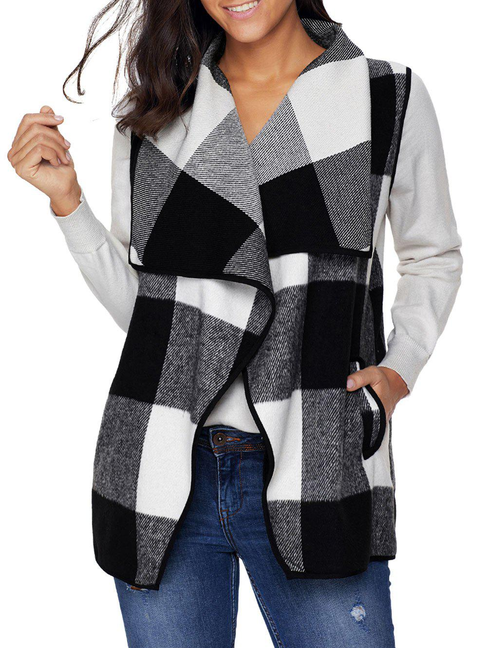 Hot Plaid Turndown Collar Vest