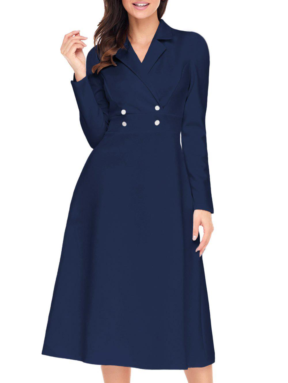 Latest Button A-line Lapel Collar Midi Dress