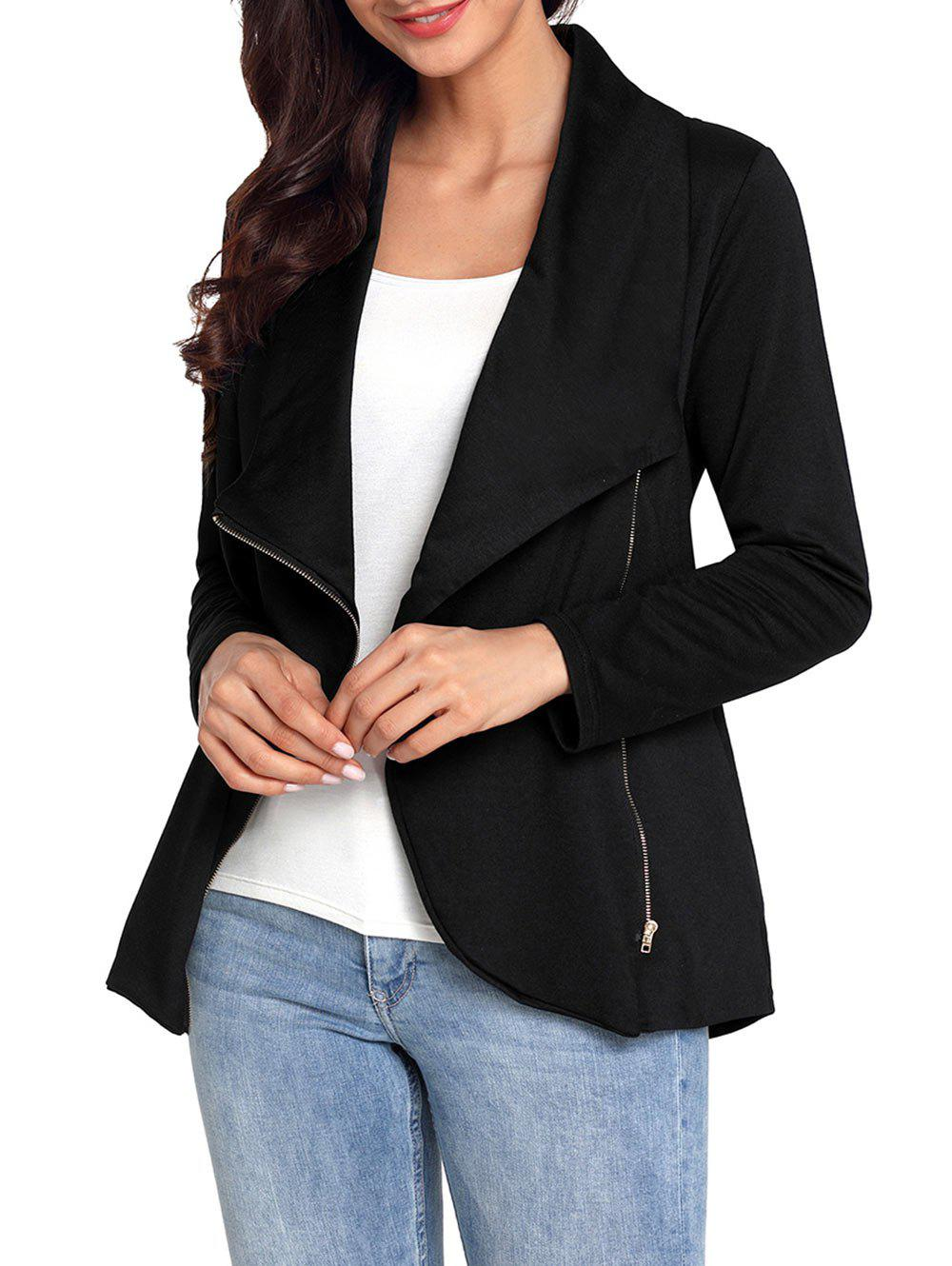 Shop Turndown Collar Zipped Jacket