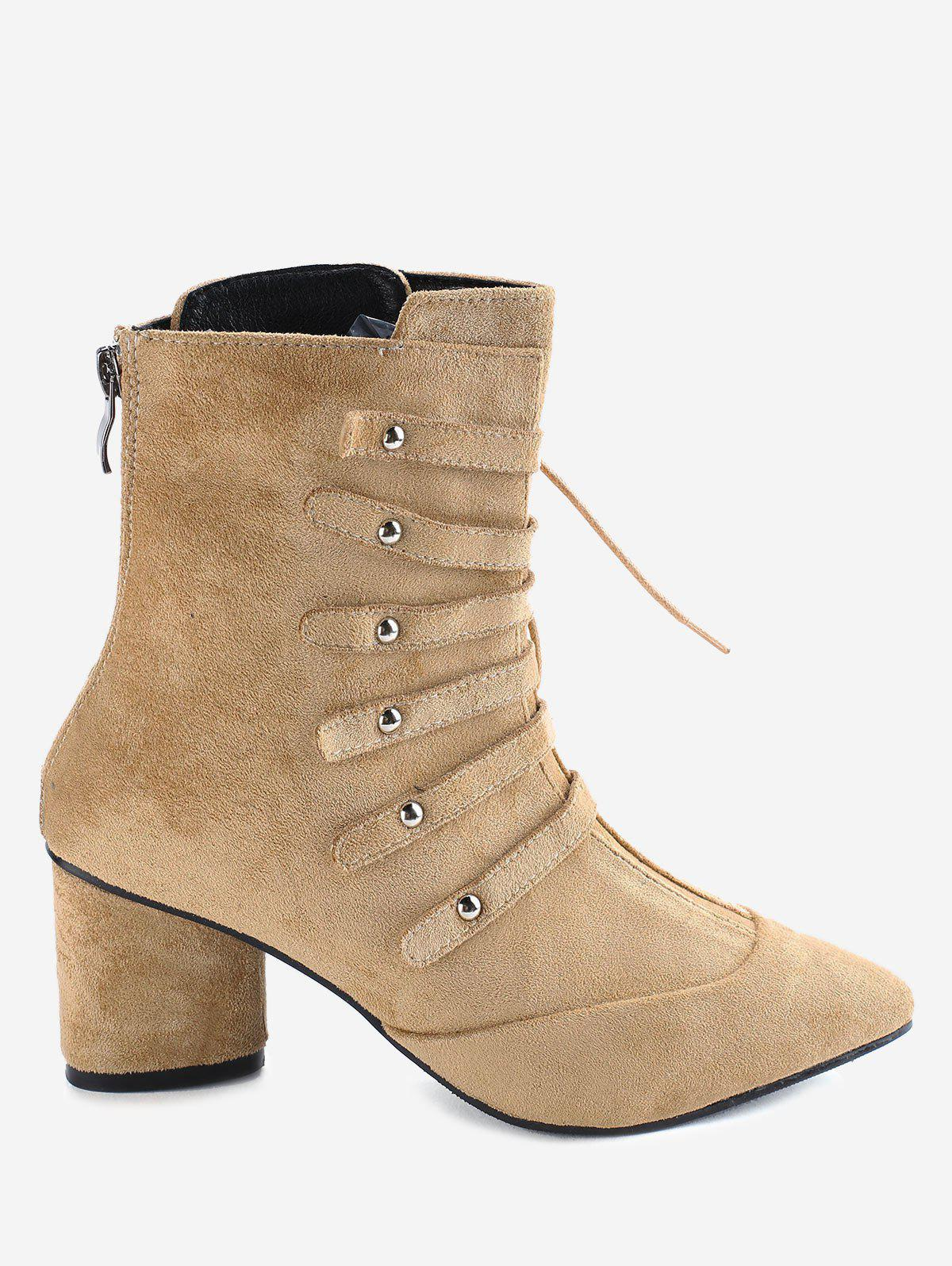 Sale Pointed Toe Lace Up Chunky Heel Boots