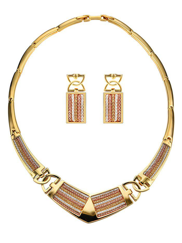 Cheap Fake Diamond Stripe Statement Pendant Necklace with Earrings