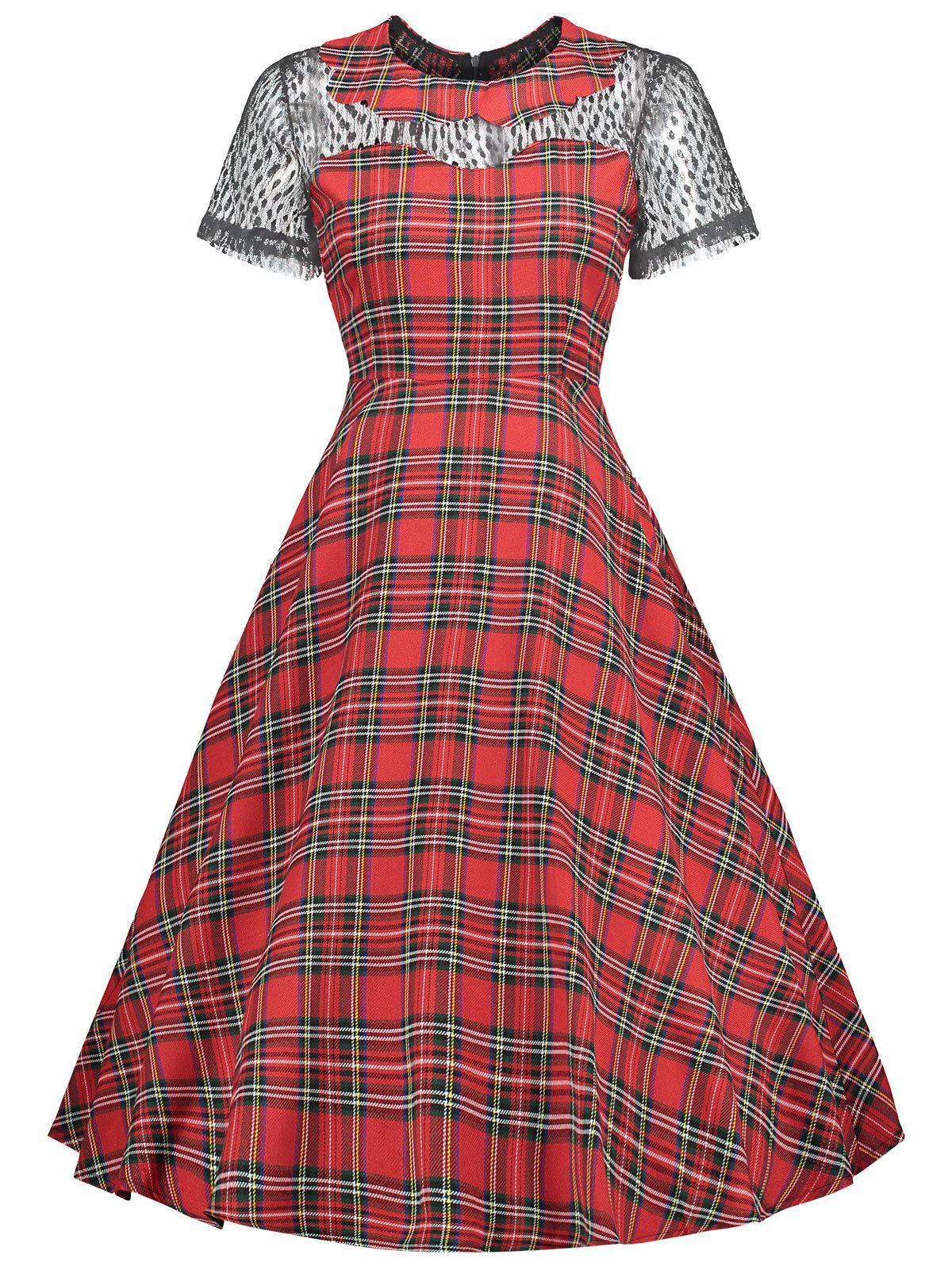 Chic Lace Insert Collared Tartan Vintage Dress