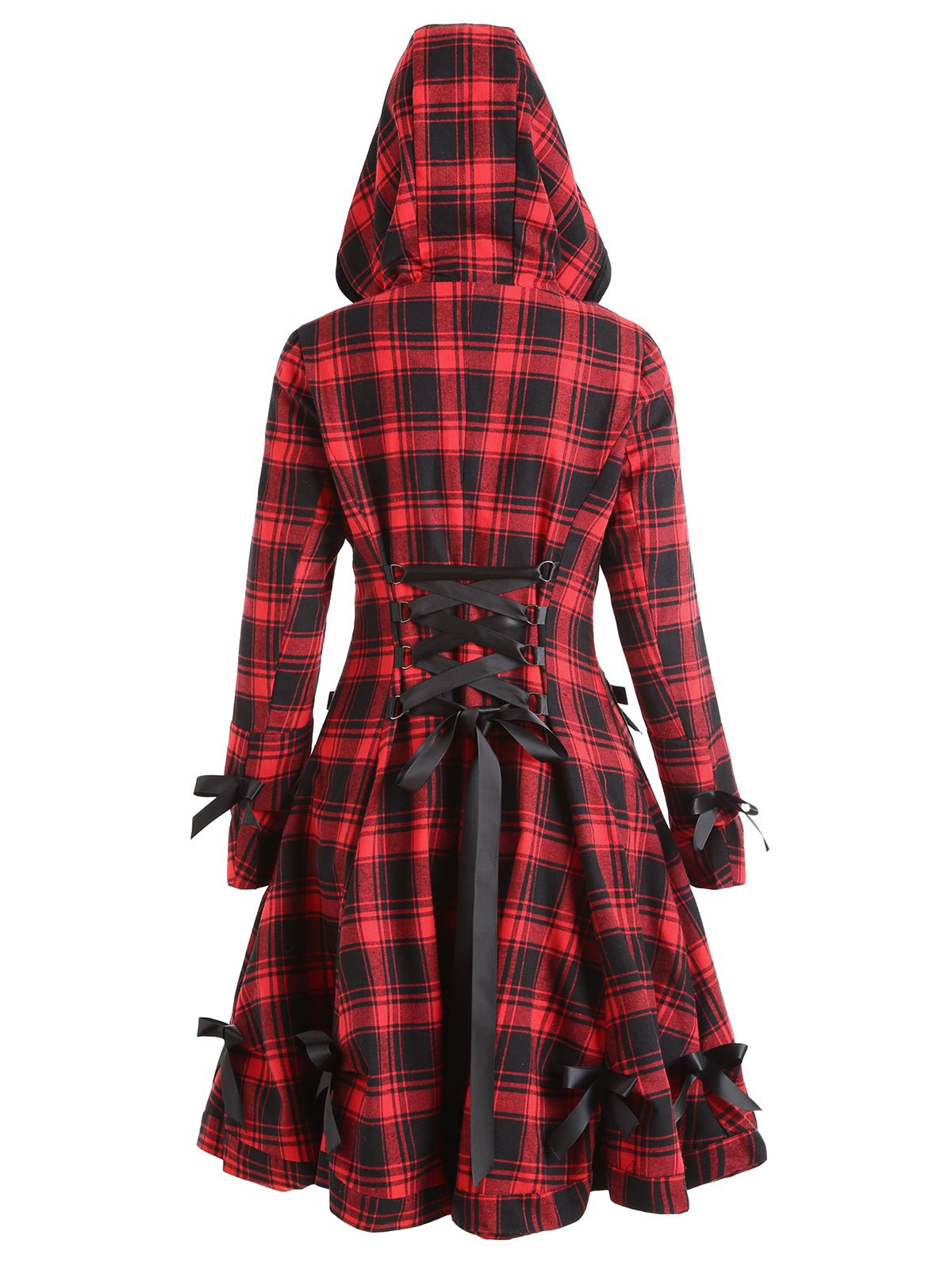 Online Button Up Plaid Hooded Skirted Coat