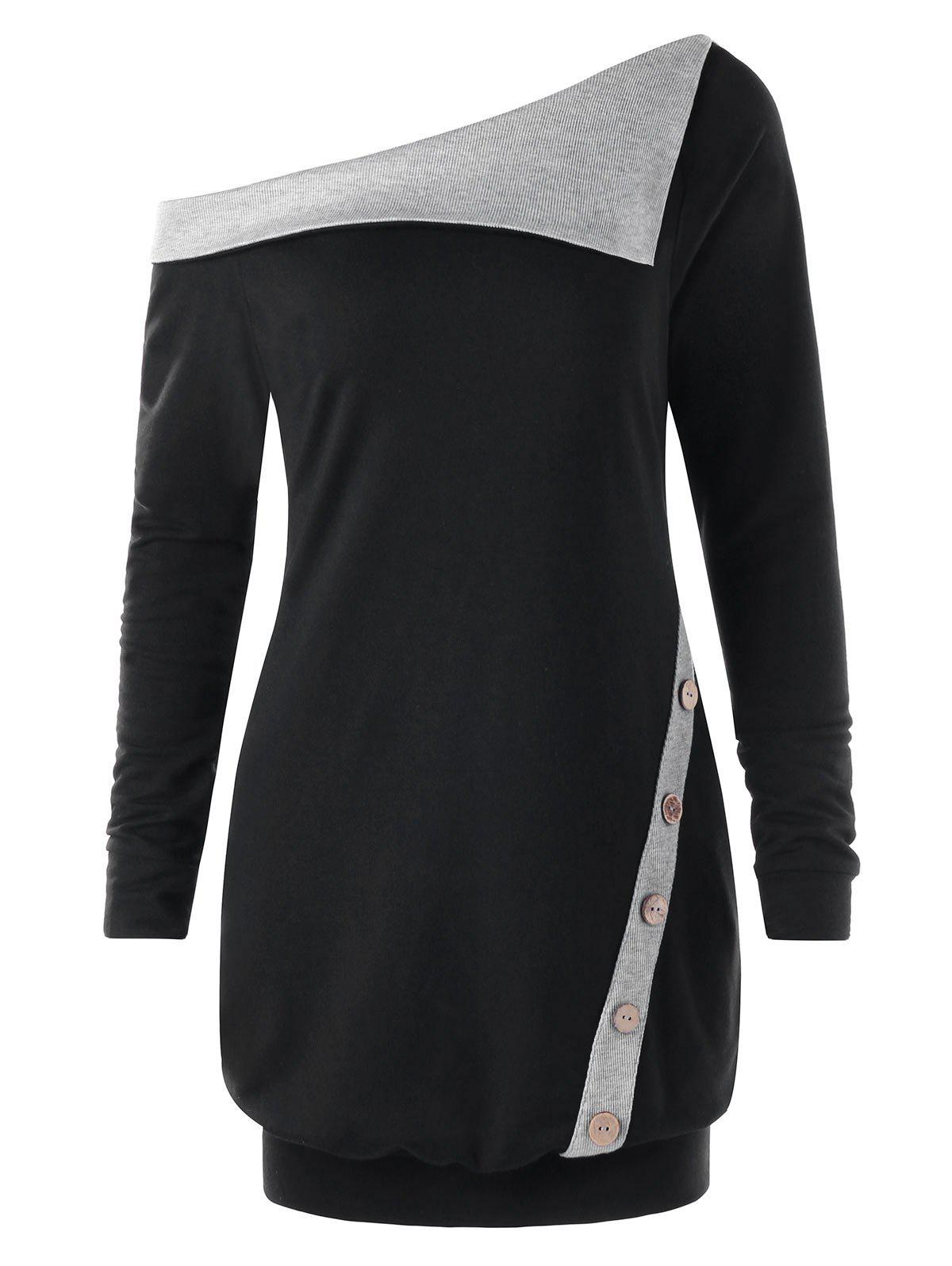 Image of Pullover Skew Neck Buttons Two Tone Sweatshirt