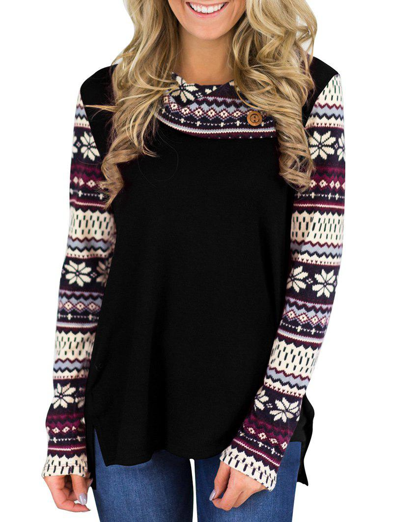 Shops Snowflake Printed Long Sleeve T-shirt