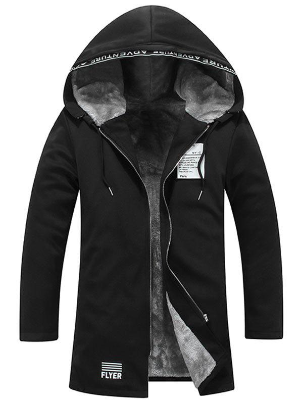 Outfits Zip Up Graphic Patch Hooded Flocking Coat