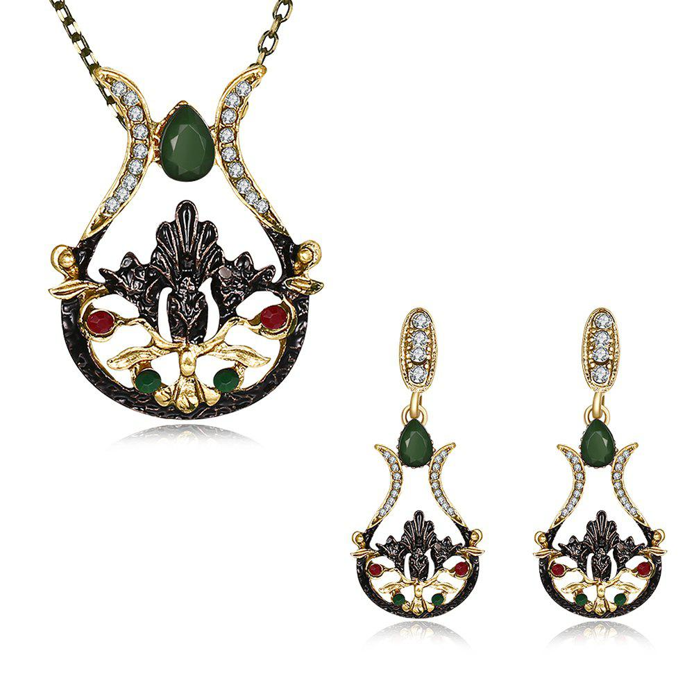 Trendy Bohemia Embellish Drop Earrings and Pendant Necklace Set