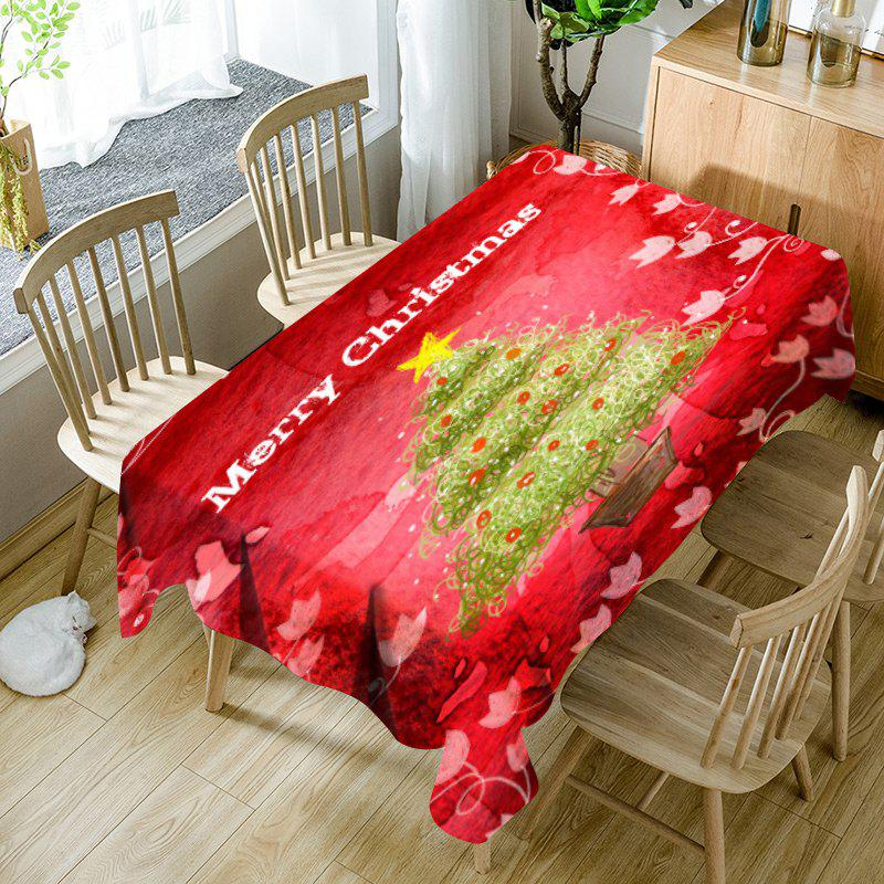 Hot Abstract Christmas Tree Flower Print Waterproof Table Cloth