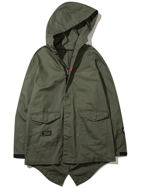 Unique High Low Hem Flap Pocket Hooded Jacket