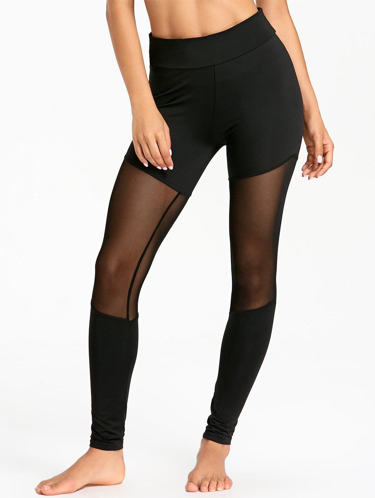 Affordable Sheer Mesh Insert Sports Tights