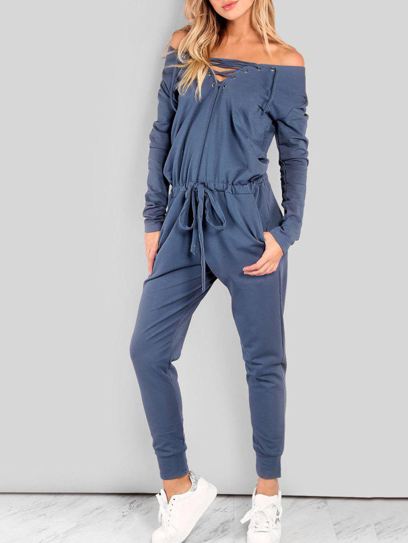Unique Drawstring Lace Up Off The Shoulder Jumpsuit