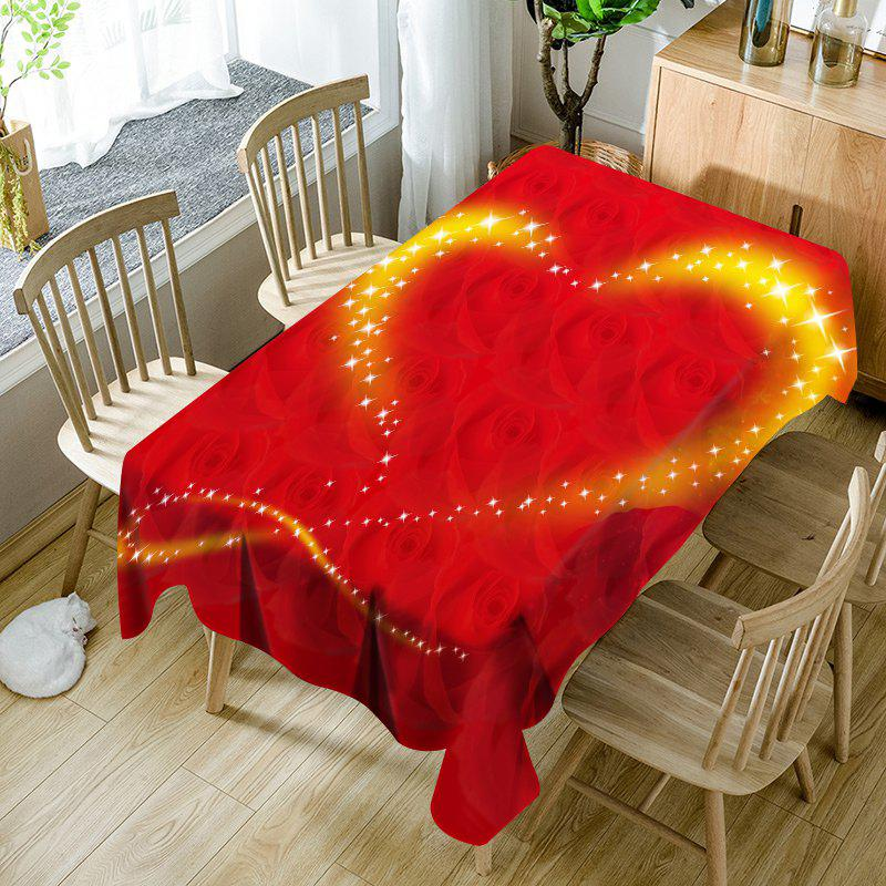 Store Valentine's Day Roses Sparkling Heart Printed Waterproof Table Cloth