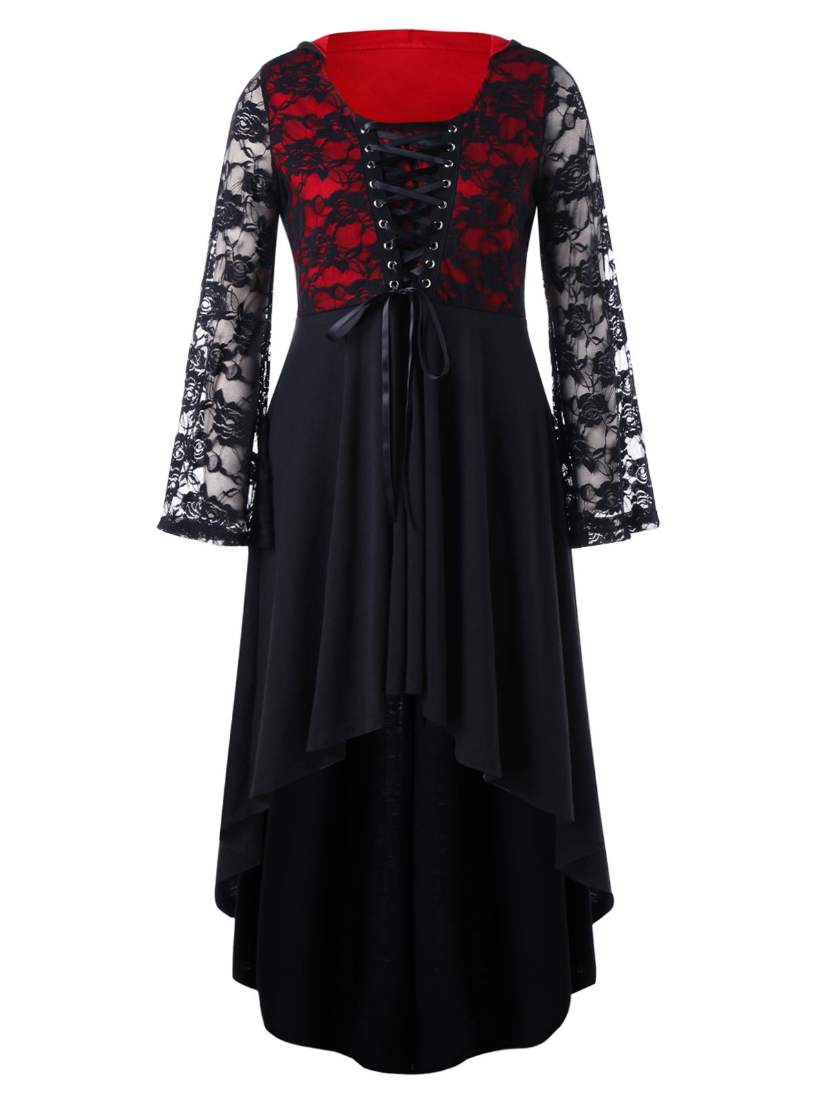 Plus Size Lace Up Gothic High Low Dress