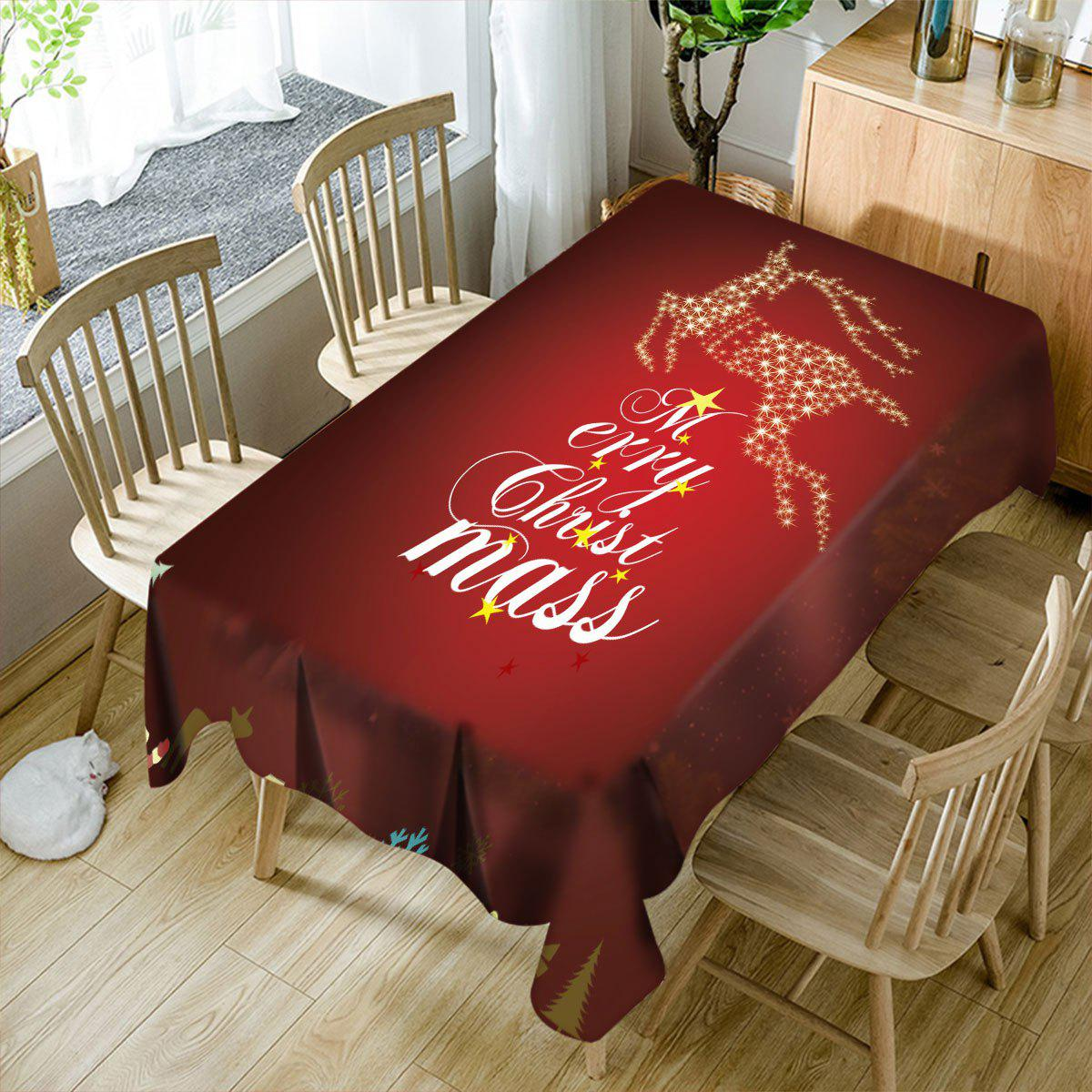 Discount Merry Christmas Sparkling Deer Printed Waterproof Table Cloth
