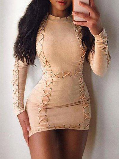 Outfits Lace Up Tight Dress  with Sleeves