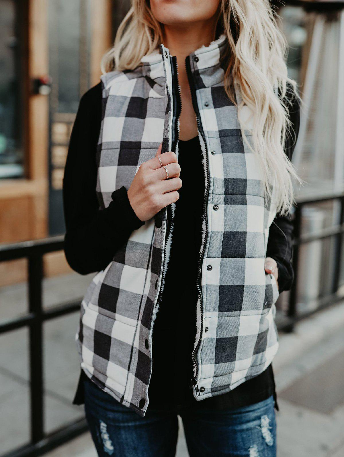 Unique Zip and Button Plaid Quilted Vest