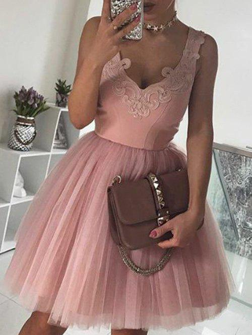Affordable Sleeveless Applique Tulle Dress