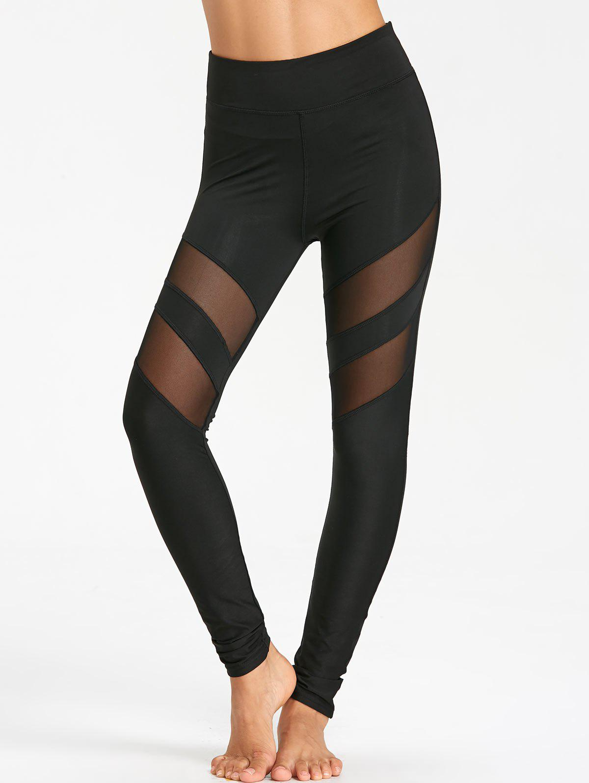 Chic High Waist Workout Leggings With Mesh Panel