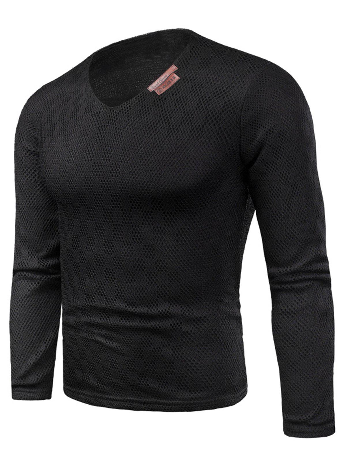 Discount V Neck Applique Knitted Fleece T-shirt