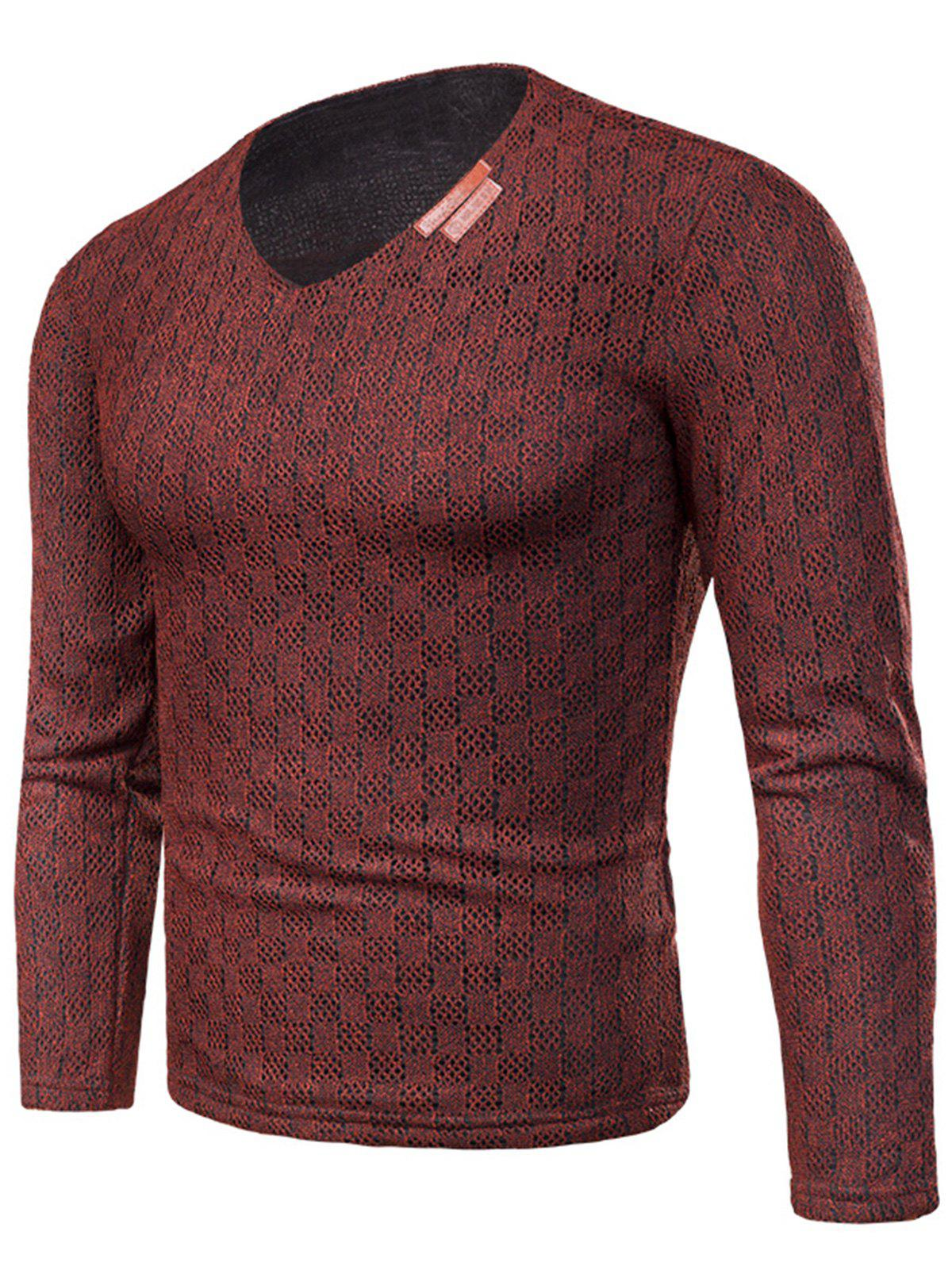 Shop V Neck Applique Knitted Fleece T-shirt