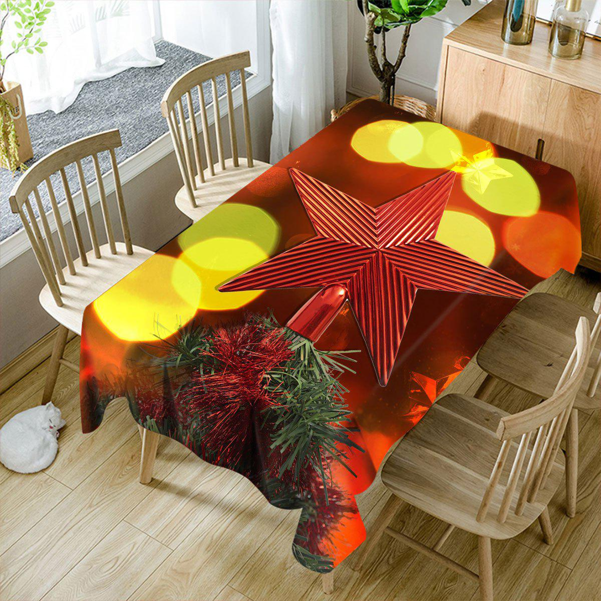 Unique Christmas Tree Star Topper Printed Waterproof Table Cloth