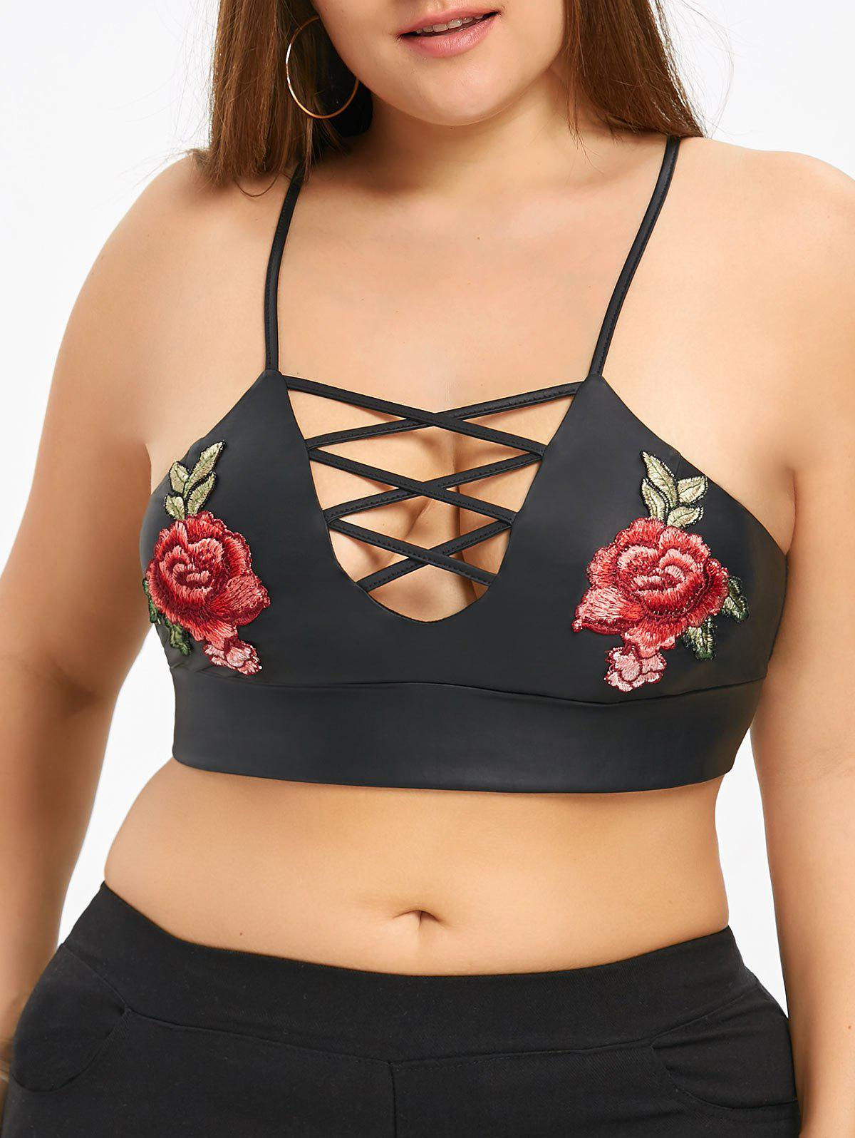 Fashion Plus Size Embroidery Criss Cross Camisole
