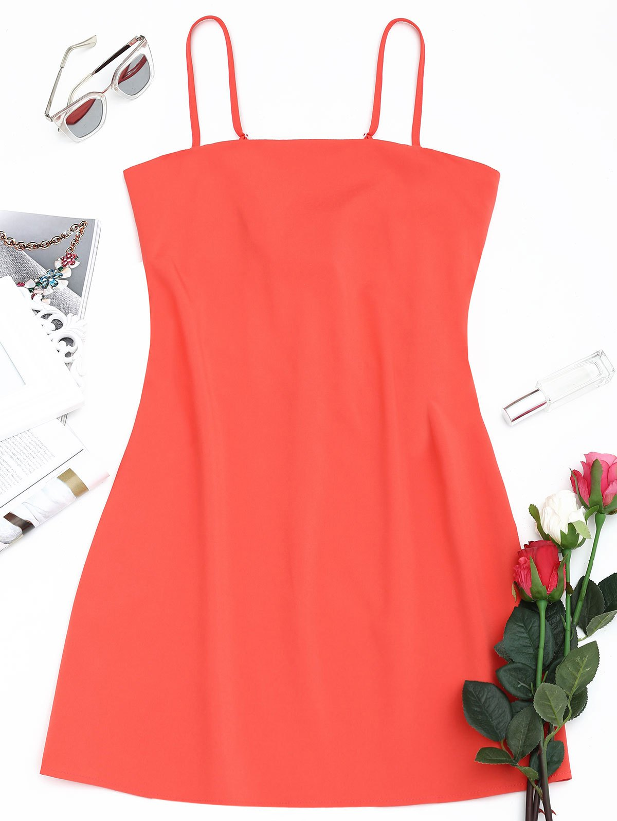 Hot Tied Bowknot Back Mini Spaghetti Strap Dress