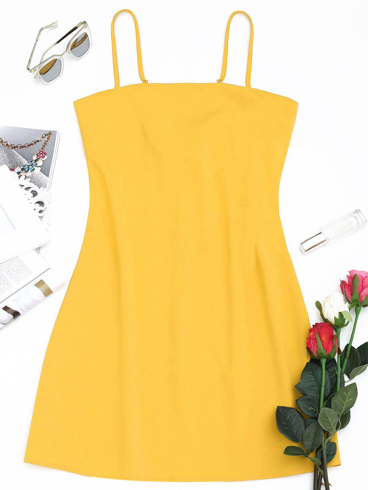Best Tied Bowknot Back Mini Spaghetti Strap Dress